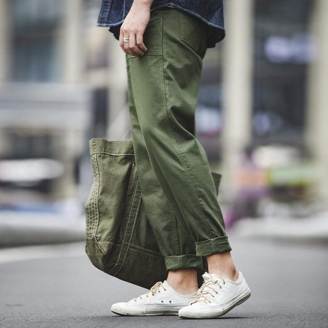 Maden Mens Green Army Pants Overalls Rectangular Straight Casual Pants Retro Vintage Men New Style Cotton