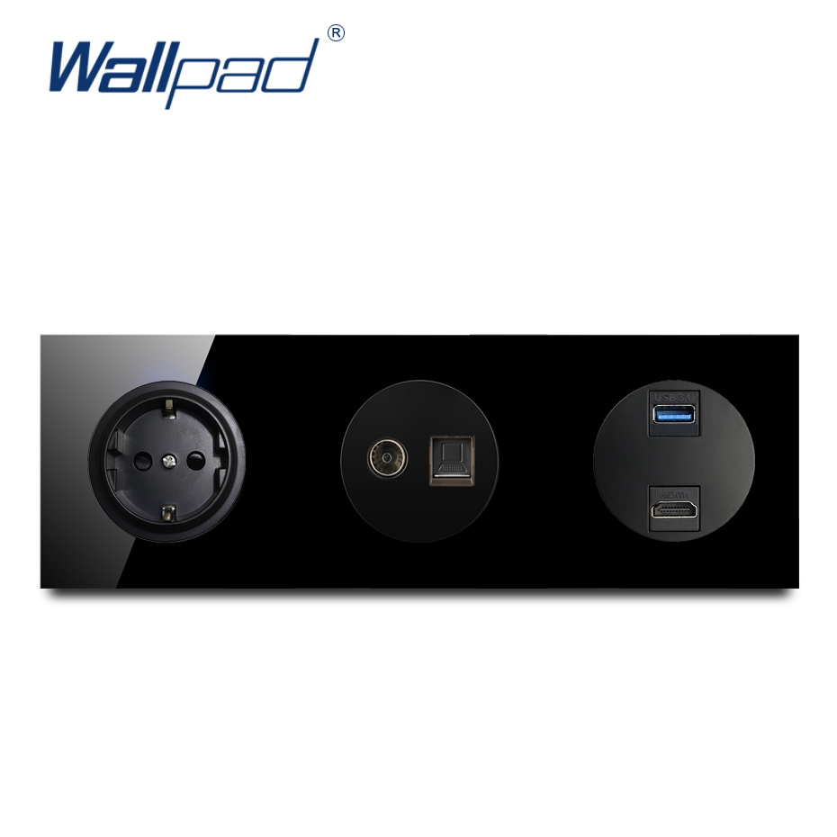Wallpad EU German Socket With TV DAT USB 3.0 HDMI Crystal Tempered Pure Black Glass Panel 16A Wall Power Socket Outlet Grounded