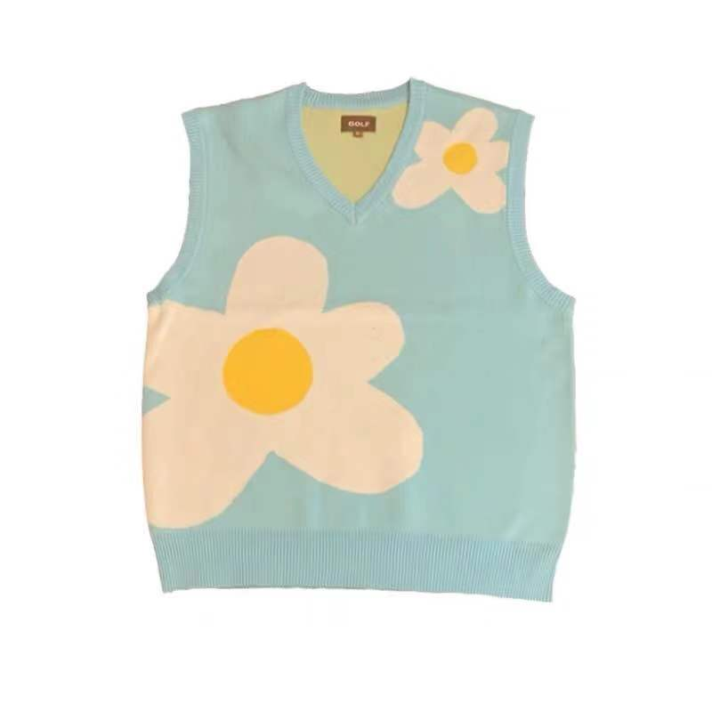 New Men Luxury Golf Flower Le Fleur Tyler The Creator Knit Casual Sweaters Vest Sleeveless Asian Plug Size High Drake #M12