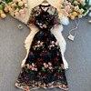 Women 2021 New Fashion Contrast Bow Round Neck Short Sleeve Slim Embroidery Flower A-line Dress Elegant Vestidos De Mujer R322 2