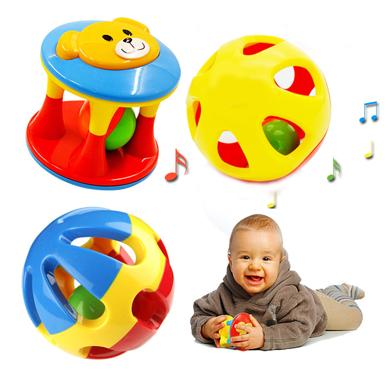 2pcs Baby Toddle Rattles Music Animals Cartoon Bear Hand Shake Bell Ring Noise Maker Educational Musical Safe Toys for Boys Girl