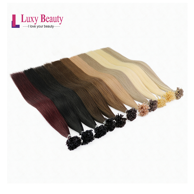 LuxyBeauty Remy Nail Hair1g/pc 22inches 8Color Brazilian Remy Hair Straight Hair Extensions Holder Human Hair For Salon Sells