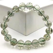 Genuine Natural Green Tourmilated Rutilated Quartz Bracelet 11mm Clear Round Beads Women Men Fashion Best Stone AAAAA top quality natural green rutilated tourmilated quartz bracelet 9 5mm clear round beads for women men fashion jewelry aaaaa