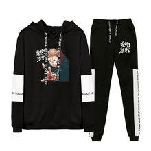 Jujutsu kaisen moletom com capuz unissex conjunto de duas peças manga longa hoodies + moletom novo anime japonês roupas