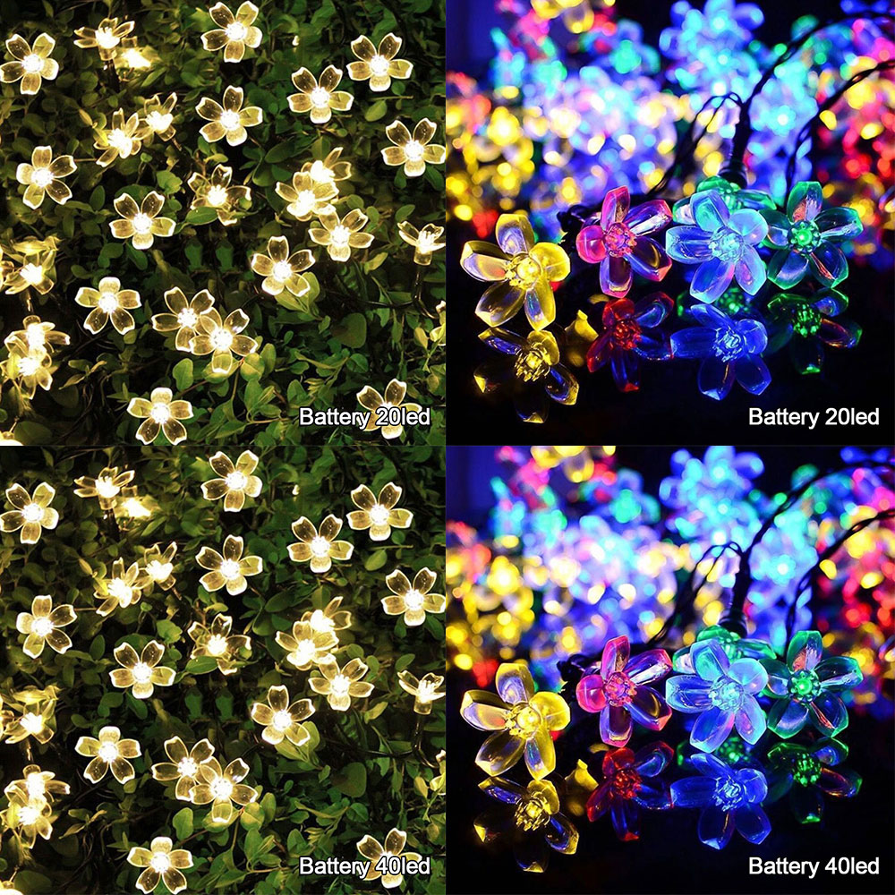 String Light LED Solar Garden Battery Powered Christmas Fairy Light Waterproof Flower Garland For Street Lawn Patio Colorful