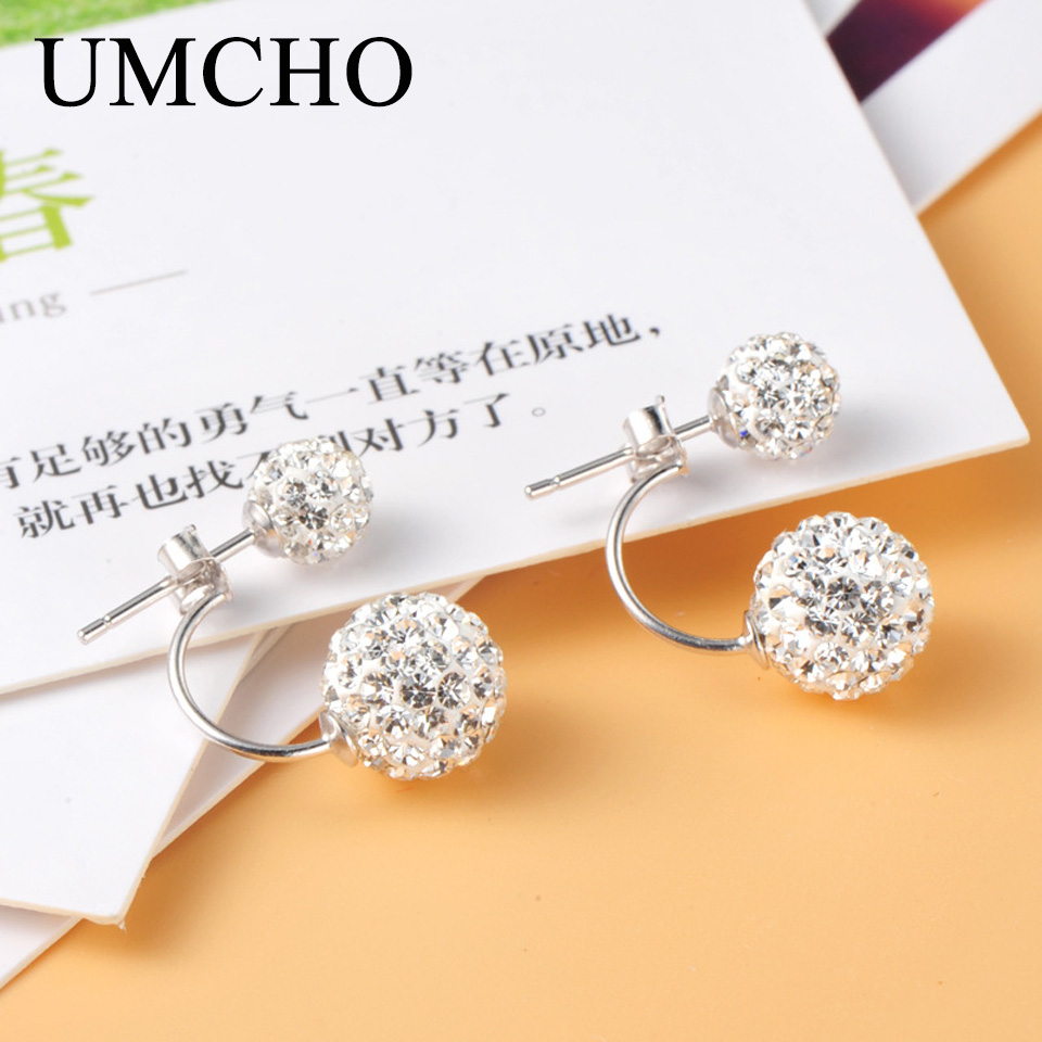 UMCHO Fashion Solid Real 925 Sterling Silver Jewelry Round Stud Earrings For Women Birthday Party Romantic Gifts Fine Jewelry
