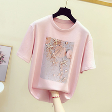 Woman Summer T-shirt White Pink Tshirt Female T-shirt O Neck Short Sleeve Tees T