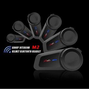 Image 4 - MAXTO M2 오토바이 헬멧 헤드셋 6 라이더 그룹 말하는 인터폰 블루투스 5.0 FM 라디오 모든 헤드폰 이어폰과 호환 가능