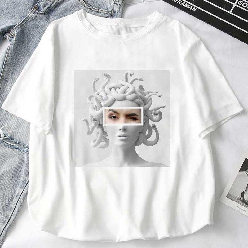 Женские футболки с мифологическим принтом «голова Медузы» «войдет в жизнь мужчин», топы с камнями, Женская Футболка Harajuku, забавные женские футболки, одежда