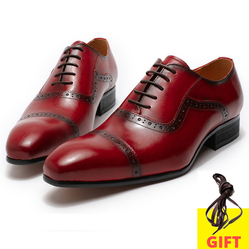 Fashion Luxury Mens Dress Shoes Genuine Leather Black Red Pointed Cap Toe Formal Oxford Shoes Party Wedding Lace-Up Footwear Man