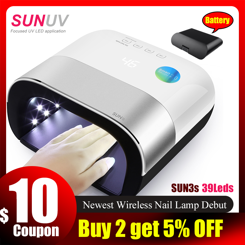 SUNUV SUN3s Wireless UV Lamp With A Replaceable Battery 39pcs Leds For Manicure Gel Nail Dryer Nail Polish Lamp For Nail Art