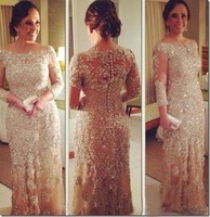 Vestidos Long Sleeve Prom Gowns Bling Off Shoulder Beaded Lace Champagne Prom Dresses