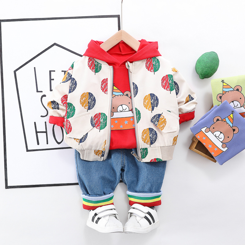 HYLKIDHUOSE 2020 Spring Baby Girls Boys Clothing Sets Printing Coats T Shirt Jeans Toddler Infant Clothes Kids Children Clothes