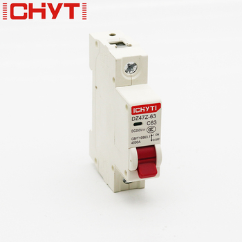 1P DC 12V-250V Solar Mini Circuit Breaker 6A 10A 16A 20A 25A 32A 40A 50A 63A DC MCB for PV System ichyti 220v 400v 1p 6a 10a 16a 20a 25a 32a 40a 50a 63a transparent shell air switch household miniature circuit breaker mcb