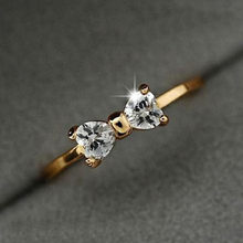 Korean style gold color wedding ring for women sweet cute AAA Austria zircon bow birthday gift fashion jewelry dropshipping(China)