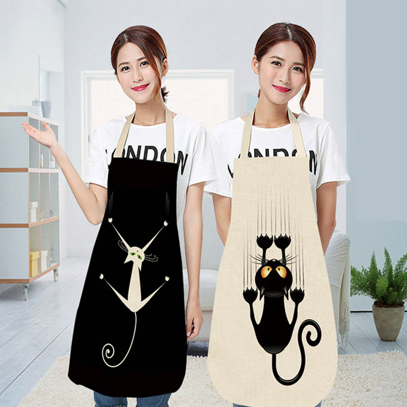 Cat Printed Sleeveless Cotton Linen Aprons For Men Women Waterproof Home Cleaning Tools Adult Bibs Kitchen Apron