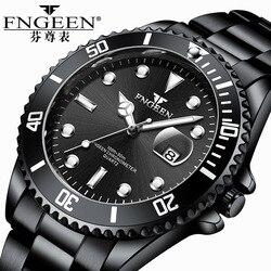 FNGEEN męskie zegarki Top marka luksusowe wodoodporne zegarki dobra data prosty zegarek kwarcowy na co dzień dla mężczyzn zegar sportowy w Zegarki kwarcowe od Zegarki na
