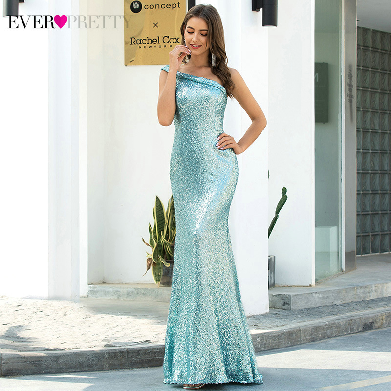 Sparkle Mermaid Prom Dresses Ever Pretty Sequined One-Shoulder Sleeveless Darped Sexy Evening Party Gowns Robe Soiree Longue