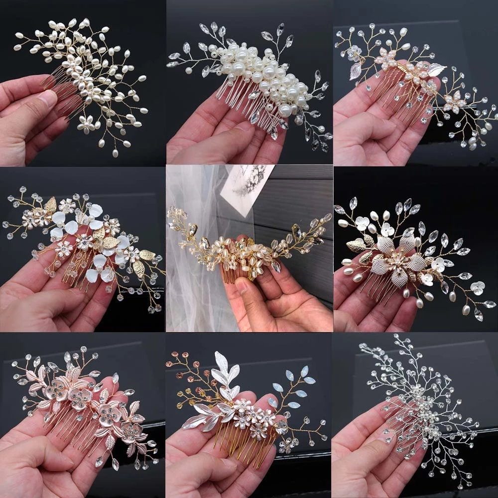 Handmade Alloy Pearl Beads Barrette Women Crystal Rhinestone Hair Combs Tiara Jewelry Hair Pin Bride Wedding Hair Accessories SL