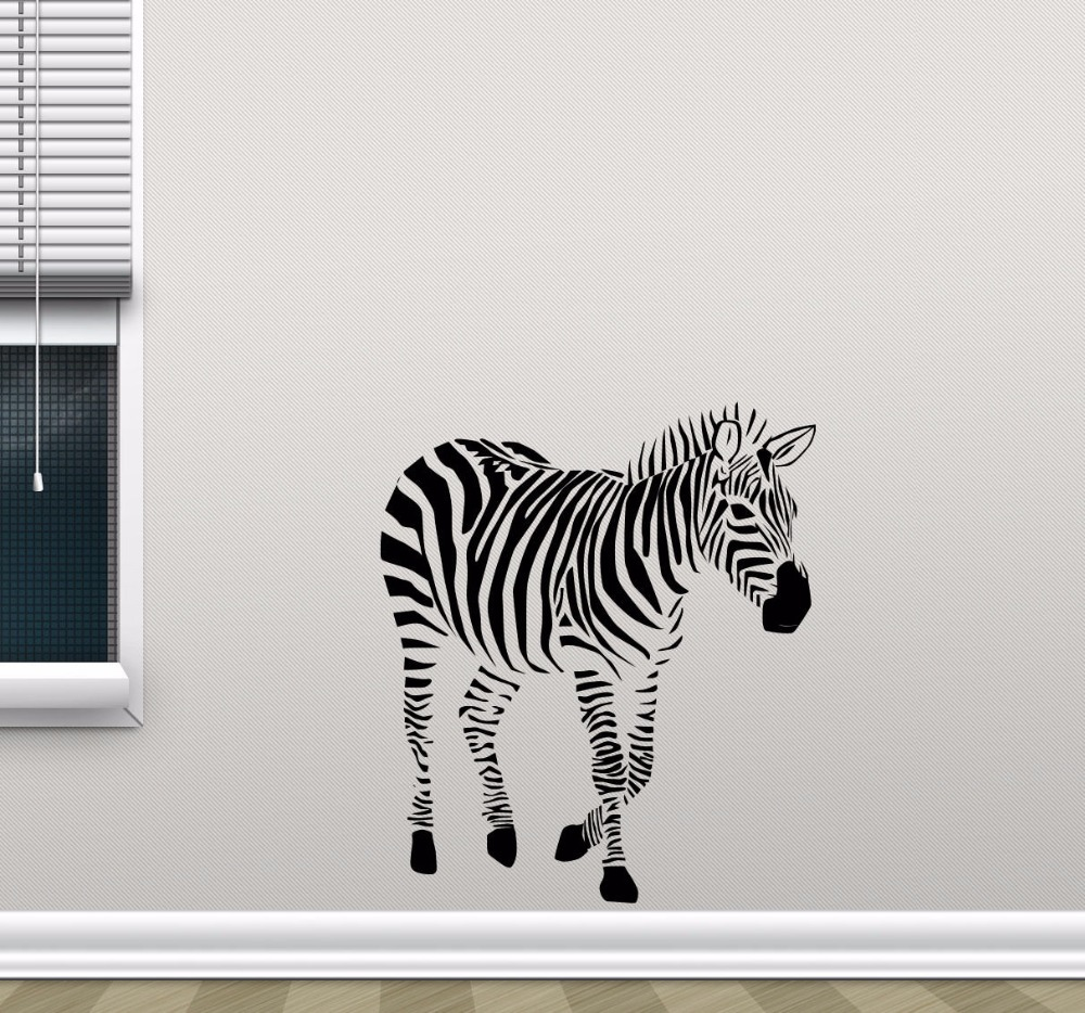 Wild Animal Zebra Wall Sticker Africa Animal Home Decor Creative Zebra Vinyl Art Wall Decals Poster Mural W586 in Wall Stickers from Home Garden