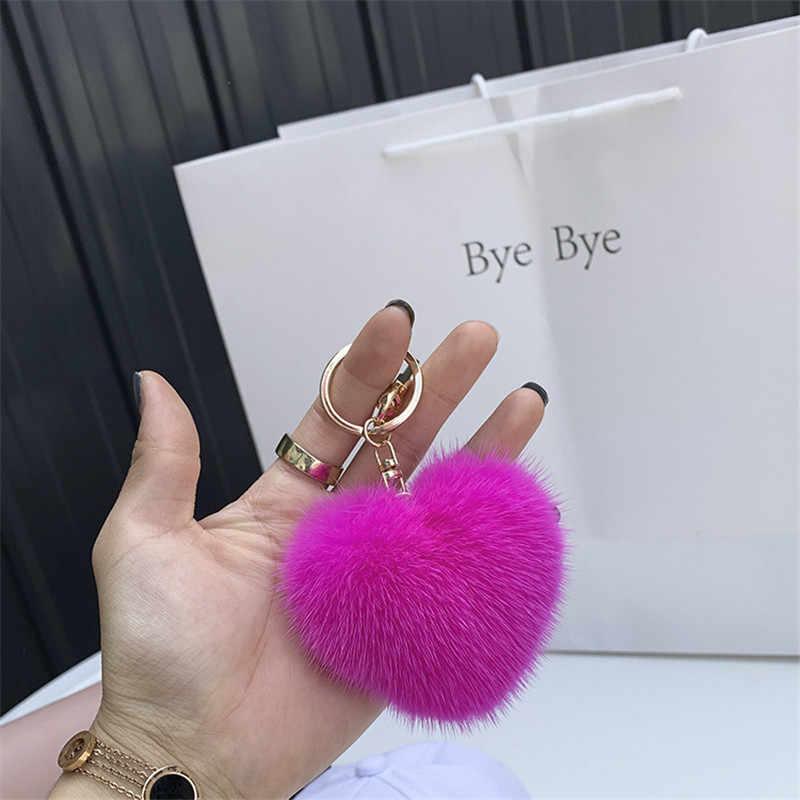 Femmes réel vison fourrure porte-clés doux romantique coeur voiture porte-clés en peluche porte-clés anneaux pour téléphone sac pendentif à breloques accessoires
