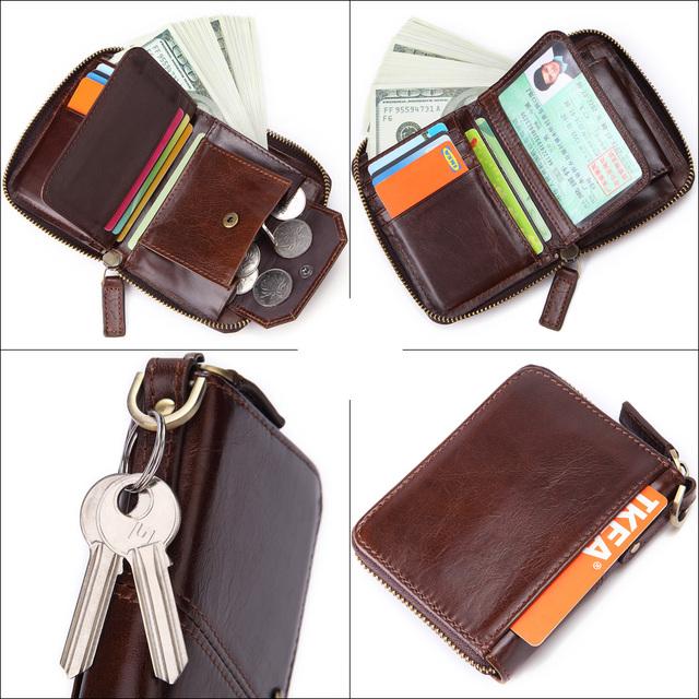 Men's RFID Genuine Leather Zip Around Card Wallet