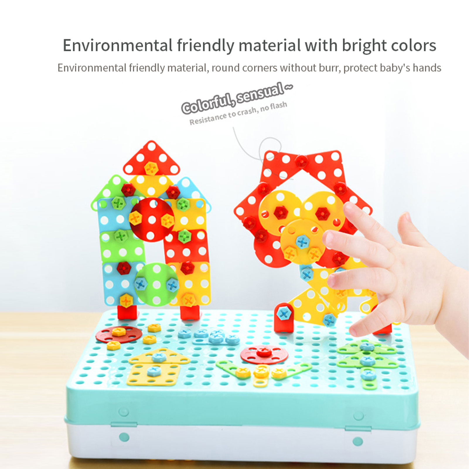Children Building Bricks Toys Drilling Screw 3D Creative Mosaic Puzzle Toys For Kids DIY Electric Drill Set Boys Educational Toy