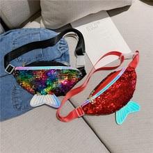 Women Girls Single Shoulder Bag Kids Girls Fashion Sequin Waist Bags Chest Bag Mobile Coin Purse