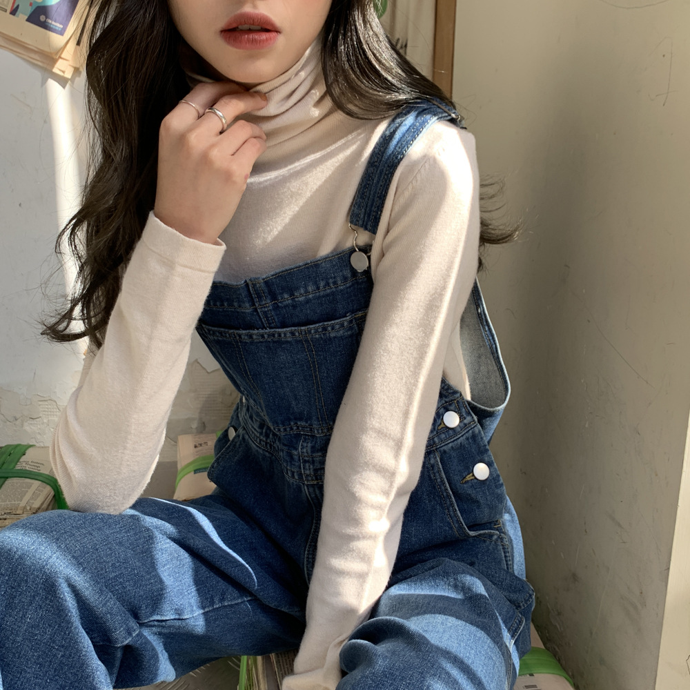 US $6.6 6% OFFDenim Jumpsuits Women Solid Basic Overalls Korean Chic  Sweet Girls High Street Womens Office Lady Elegant Long Pants Rompers