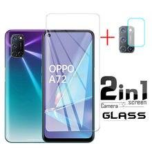 Protector de cristal templado 2 en 1 HD para OPPO A72, Protector de pantalla para lente de cámara, película 2020, para OPPO A 72 6,5