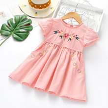 Summer Baby Girls Floral Dresses Girls Flower Embroidery Cot