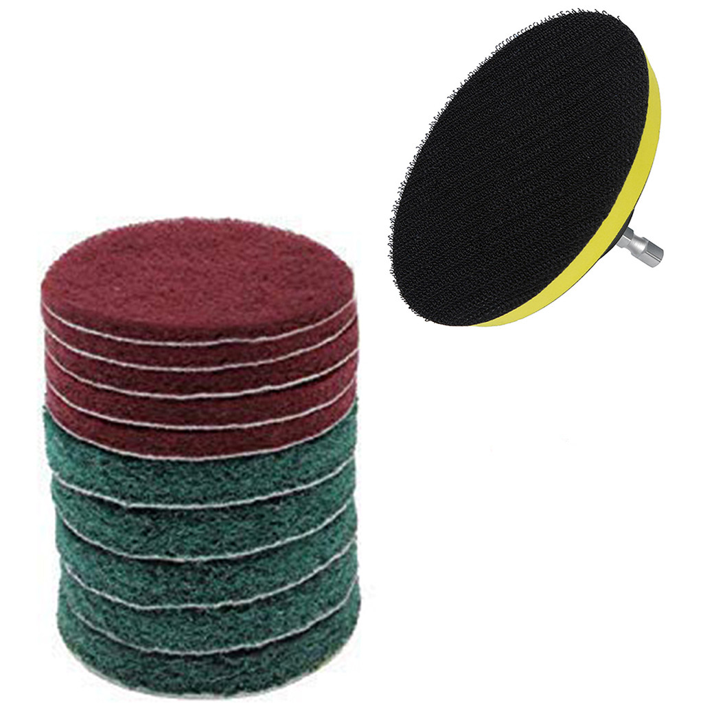 11pcs/Set Cleaning Kit Scouring Pad 100mm M10 Thread 1/4\\\