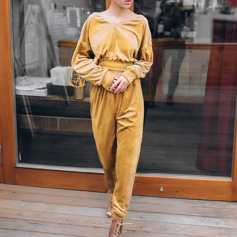 2019 Autumn Women Casual V-Neck Velvet Tracksuit Long Sleeve Sweatsuit Cropped Hoodies + Pants Velour Set