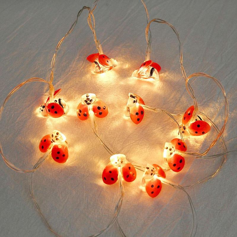 10 LED New Home Ladybug Shape String Lights Battery String Chain Lamps Party Wedding Christmas Room Decor