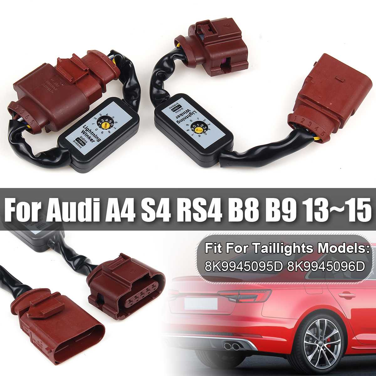 2PCS Dynamic Turn Signal Indicator LED Taillight Add-on Module Cable Wire Harness For Audi A4 S4 RS4 B8 B9 2013~2015