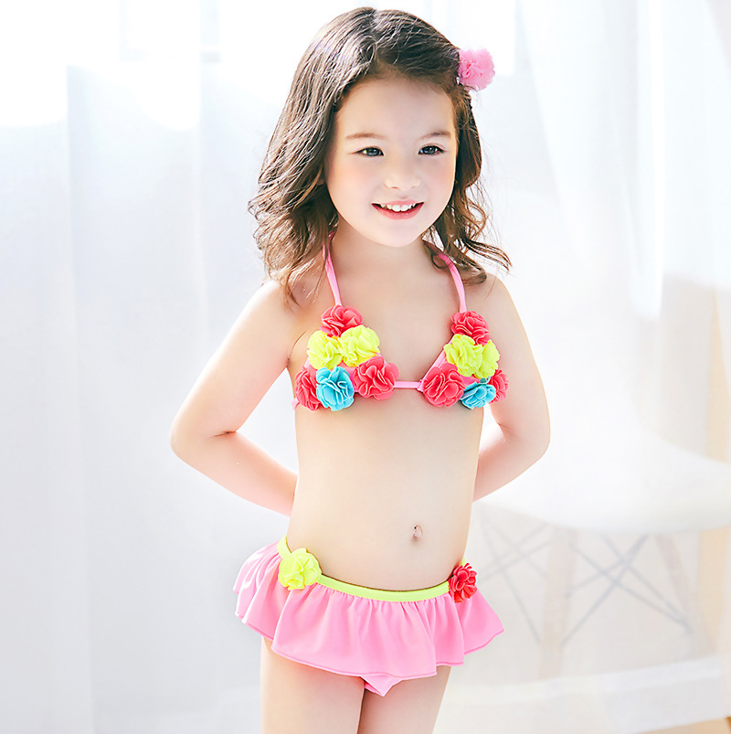 2020 KID'S Swimwear Baby Small Children GIRL'S Pink Flower Pompon Lace-up Split Type Bikini Swimwear