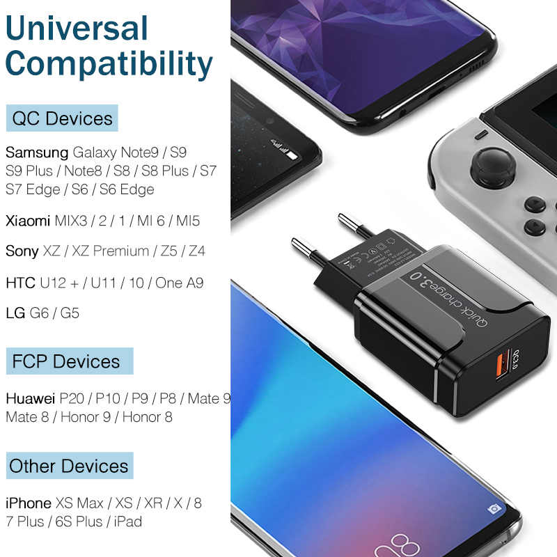 Ykz USB Charger Pengisian Cepat QC3.0 Universal Ponsel Chargeing Dinding Charger Usb Adaptor untuk Iphone Samsung Huawei QC 3.0