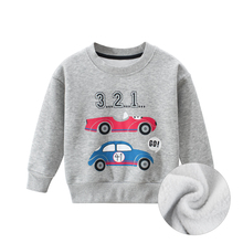Hoodies Children Kids Sweatshirts Baby Girls Boys Childrens Autumn Cotton Spring Gray Print Cartoon Car Toddler Long Sleeves
