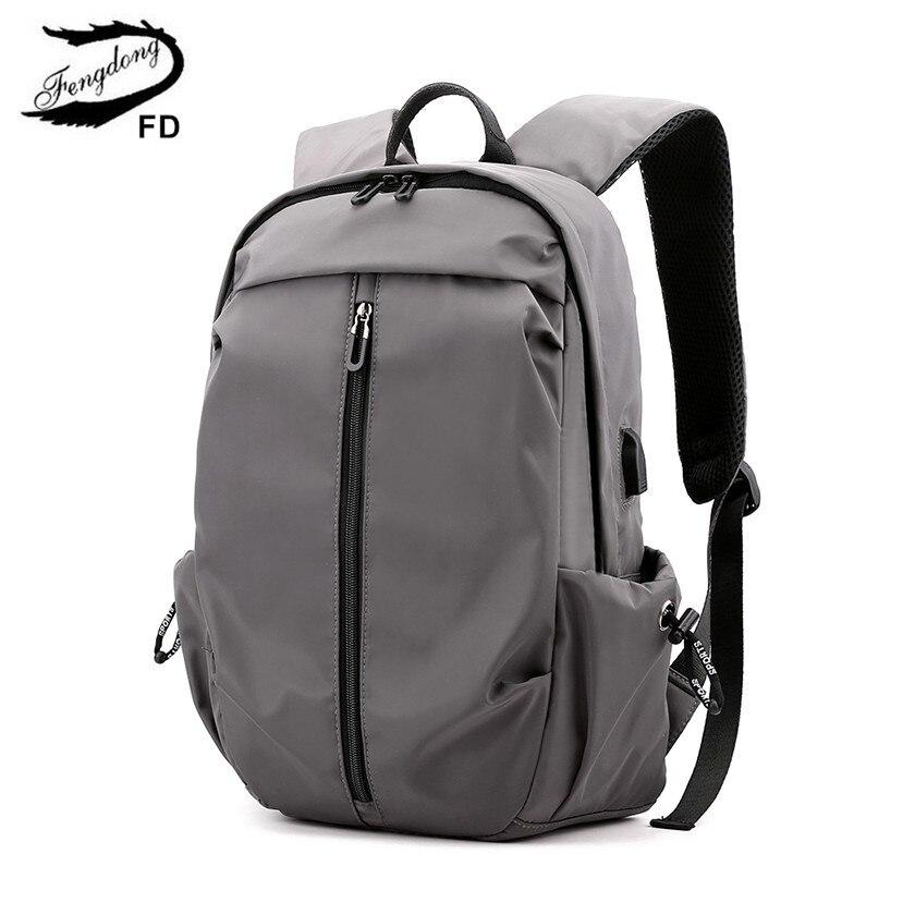 FengDong School Bags For Boys Student Waterproof Lightweight Travel Laptop Backpack Schoolbag Bookbag USB Backpack For Men Gift