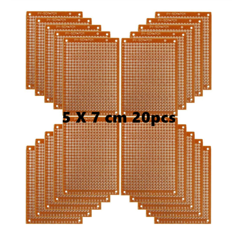 Aokin Copper Perfboard 20 PCS Paper Composite PCB Boards (5 Cm X 7 Cm) Universal Breadboard Single Sided Printed Circuit Board