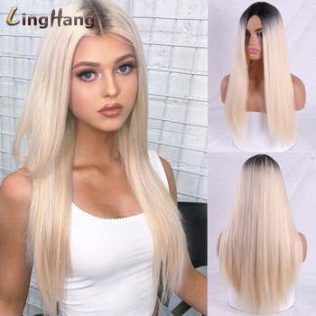 Linghang Long Straight Synthetic Wig Light Blue Ombre Wigs for Women Mixed Brown and Blonde Middle Part Nature Hair - discount item  39% OFF Synthetic Hair