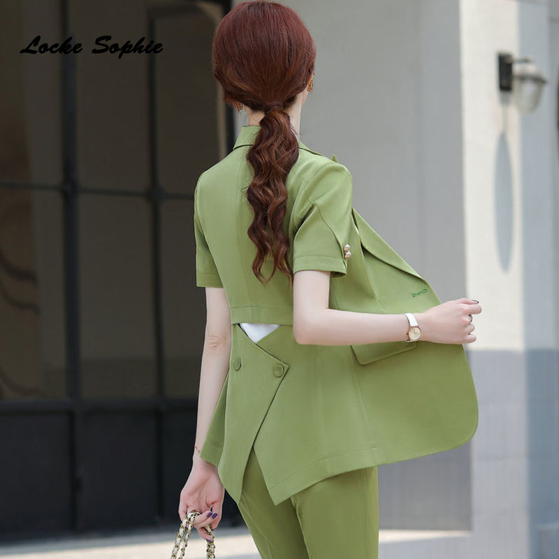 Women Plus size Blazers coats 2020 Summer Fashion cotton Button Splicing Short sleeve Suits jackets ladies Skinny Blazers Suits