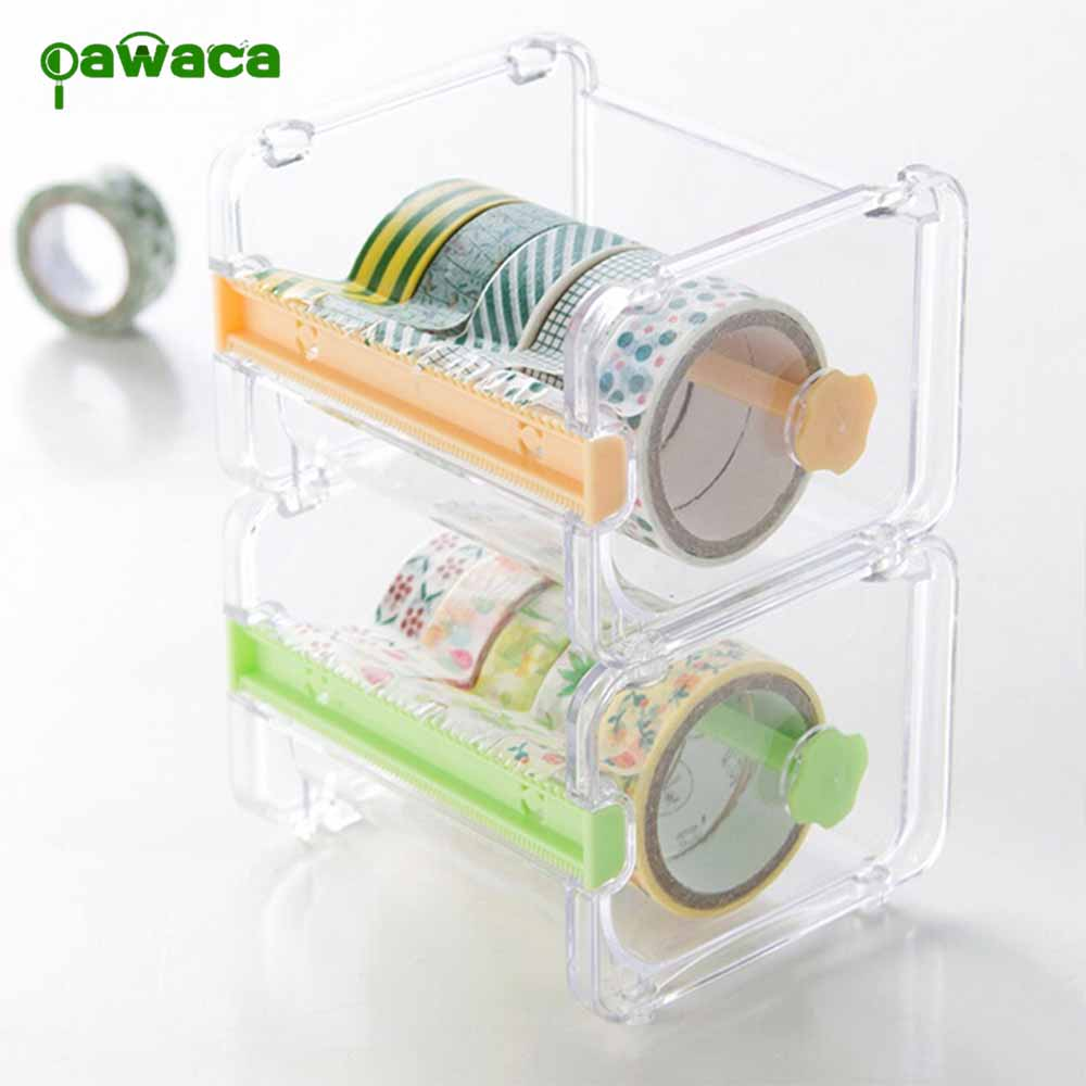 Stationery Masking Tape Cutter Multi Roll Washi Tape Dispenser Transparent Mini Tape Organizer Desktop Tape Dispenser