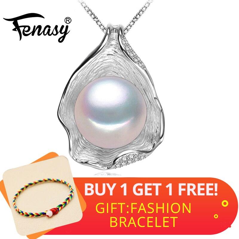 FENASY Shell Design de Moda Prata Esterlina 925 Natural Pérola de Água Doce Colar de Pingente de Mulheres Jóias Declaração Boho Colar
