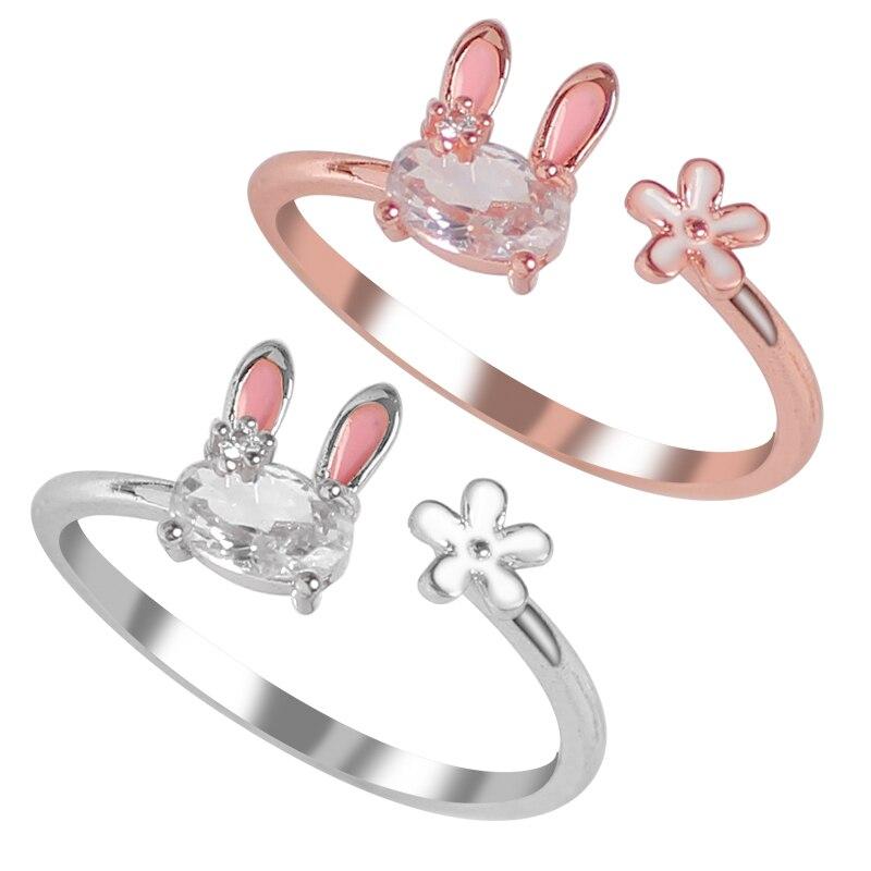 Лидер продаж, модные украшения, Женское кольцо, кольцо с милым Кроликом, животным, открытое регулируемое металлическое кольцо, новинка 2020, ж...