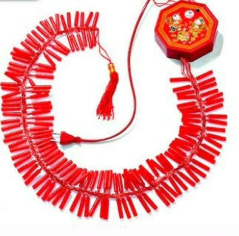 New Year Firecracker Model LED Electronic Firecracker Festive Opening Spring Festival Decorative String Lights Electronic Whip