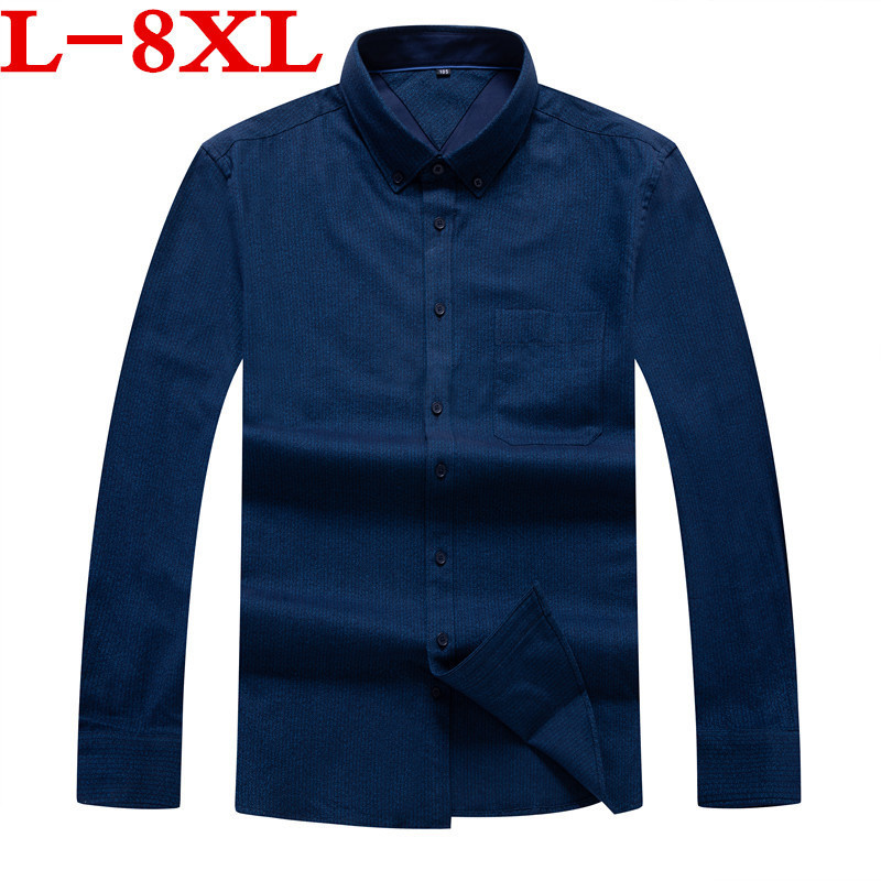 Big Plus Size 8XL 7XL  Long Sleeve 100% Cotton Easy  Care Loose  Fit Striped Business Men Casual Shirts High Quality Comfortable