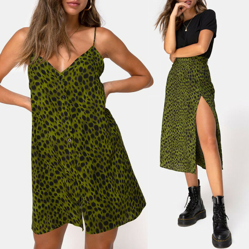 Meihuida Women Green Leopard Skirts Summer Lady Fashion V-neck Loose Open Splice Button Skirts Beach Wear