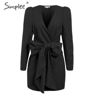 Image 2 - Simplee Sreetwear V hals Blazer Jurk Elegante Bladerdeeg Mouw Boog Korte Party Dress Office Dames Chic Solid Black Herfst Werk Jurk