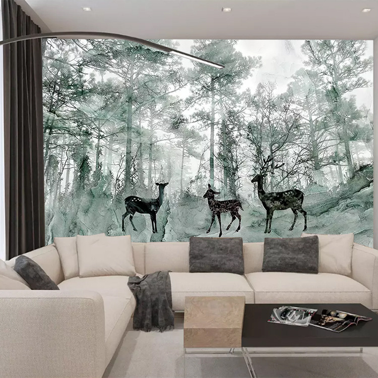 Customizable Northern European-Style Wallpaper Seamless Wall Cloth Dreamy Forest Elk Wallpaper Sofa TV Backdrop Mural